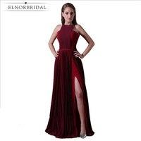 Modest Burgundy Evening Dresses 2018 Side Split Robe De Soiree Formal Women Prom Dress Party Gowns