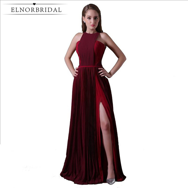 Modest Burgundy Evening Dresses 2019 Side Split Robe De Soiree Formal Women  Prom Dress Party Gowns Avondjurken Gala Jurken fae9bdc0c26d