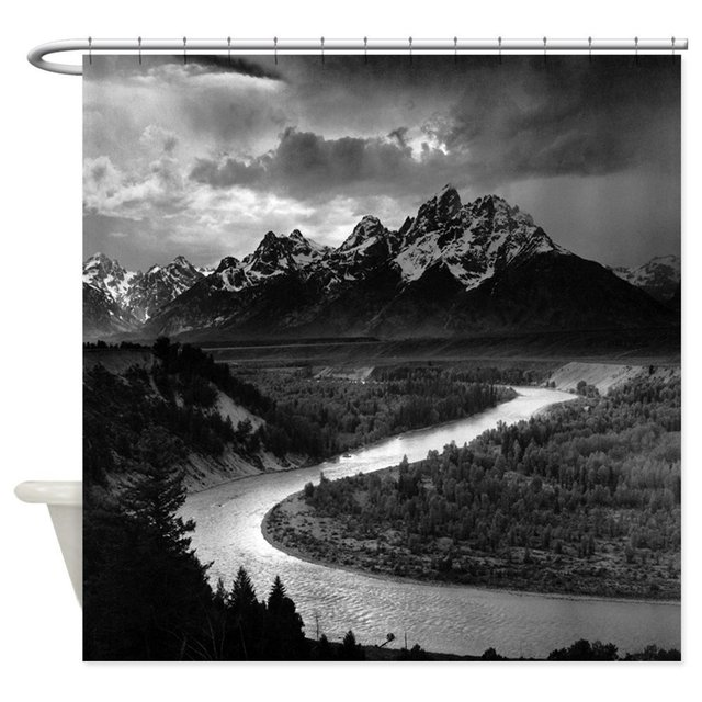 Ansel Adams Tetons And Snake River Shower Decorative Fabric Curtain 8 Sizes For