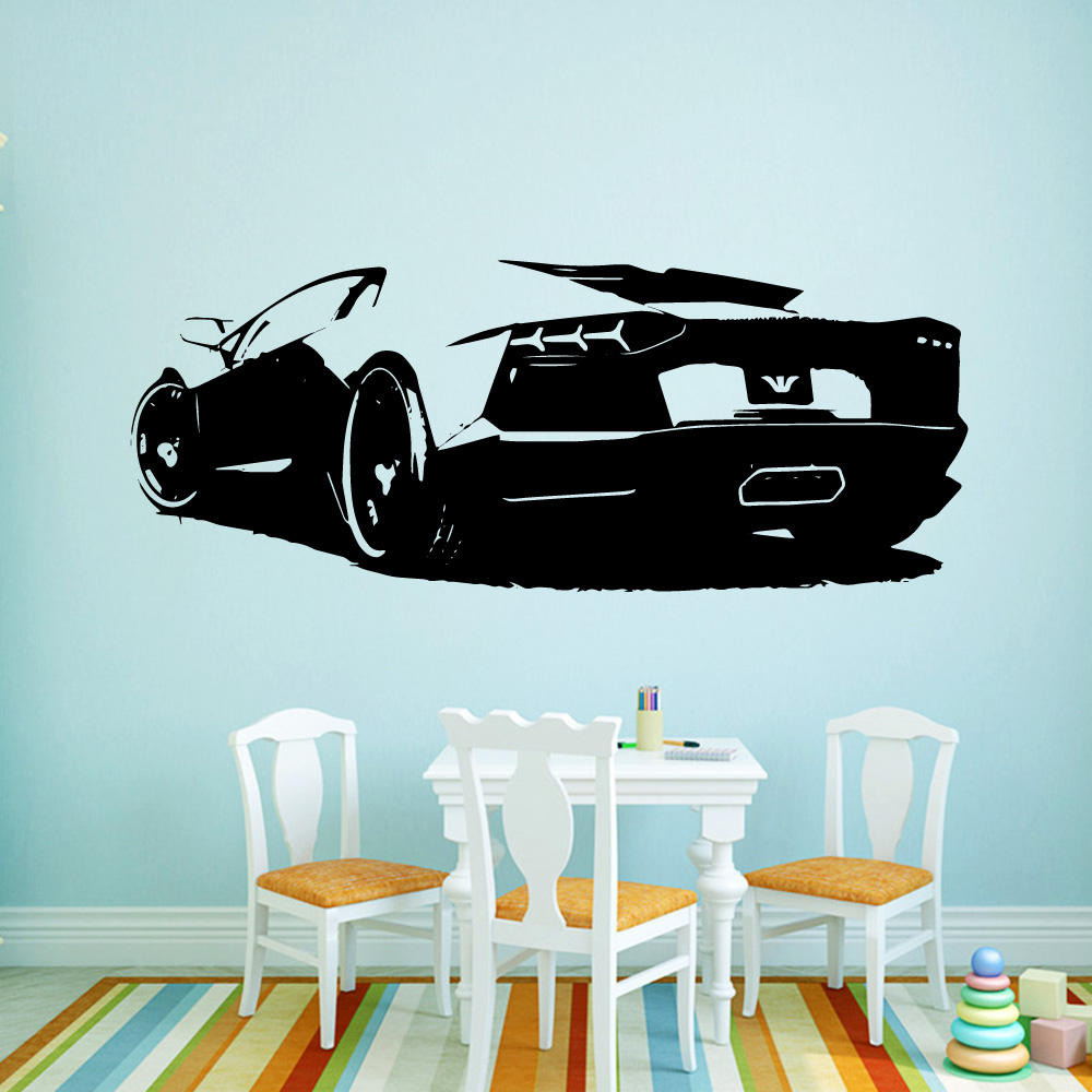 Sport Car Vinyl Wall Sticker Art Modern Fashion Style For Children'S Room Kids Rooms Stickers On The Wall Boys Bedroom Decor
