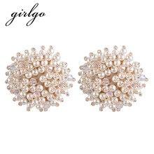 Girlgo Luxury Full Simulated Pearl Beads Stud Earrings for Women Bohemian Statement Earrings Bijoux Wedding Jewelry Oorbellen