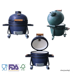 14-Inch Outdoor Ceramic Mini barbecue Grill High Temperature Resist Desktop BBQ Charcoal Grill for Party/Home/Garden/camping 1pc