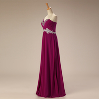 Cheap Evening Dresses Long 2018 A Line Sweetheart Beaded Appliques Lace Chiffon Purple Red Blue Women