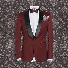 Brand Clothing men formal business wedding groom burgandy suit set 30%wool single button tuxedo coat+pant men slim dinner suit