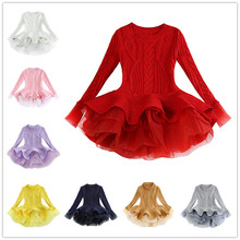 Baby Girl Dress Clothes 2019 Autumn Winter Girls Organza Sweater Long Sleeved Puff Princess For 3-9T