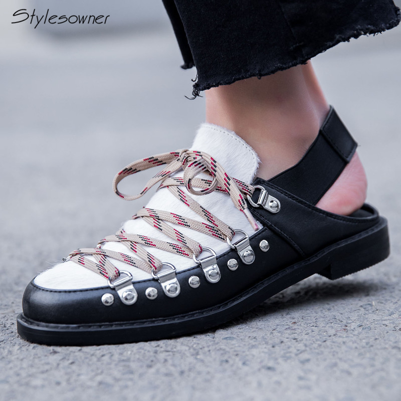 Stylesowner New Fashion Lace Up Elastic StrapCasual Shoes Metal Rivets Flat Shoes Horse Hair Mixed Laces Shoes Women Casual Flat fashion horse hair tassels leather leopard pattern flat shoes black brown pair 37