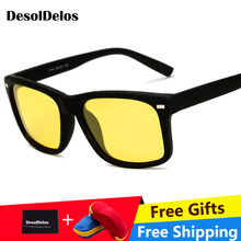 NEW Yellow Night Vision For Driving Polarized Sunglasses Square Mens Driver Safety Eyewears Cloudy Fog Day with box