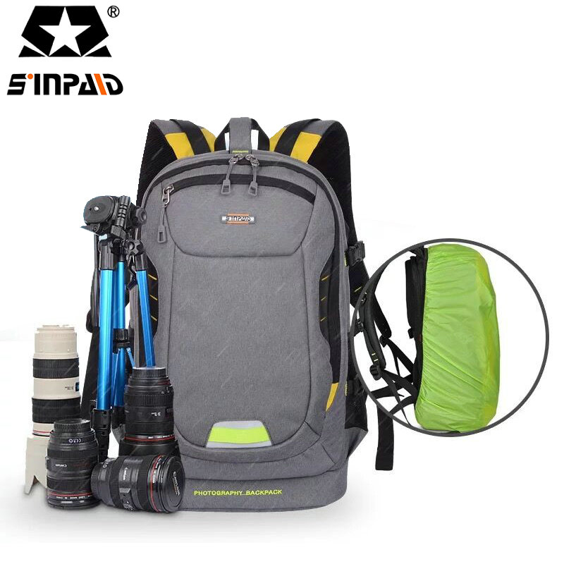 SINPAID Anti-theft Digital Camera Travel Backpack Waterproof DSLR SLR Photography Bag Cases for Canon Rebel Nikon Sony Pent-30 sinpaid anti theft digital dslr photo padded camera backpack with rain cover waterproof laptop 15 6 soft bag video case 50