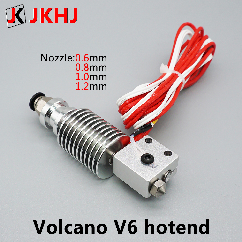3D Printer Parts E3D V6 Volcano Hotend Large Diameter Nozzle 1.75mm/0.6 0.8 1.0 1.2mm 12V/24V Remote Print J-head