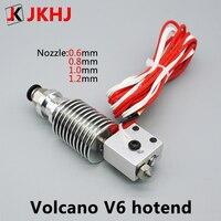 Piezas de impresora 3D E3D V6 Volcan hotend, boquilla de gran diámetro de 1,75mm/0,6, 0,8, 1,0mm, 1,2mm, 12V/24V, estampado remoto j-head