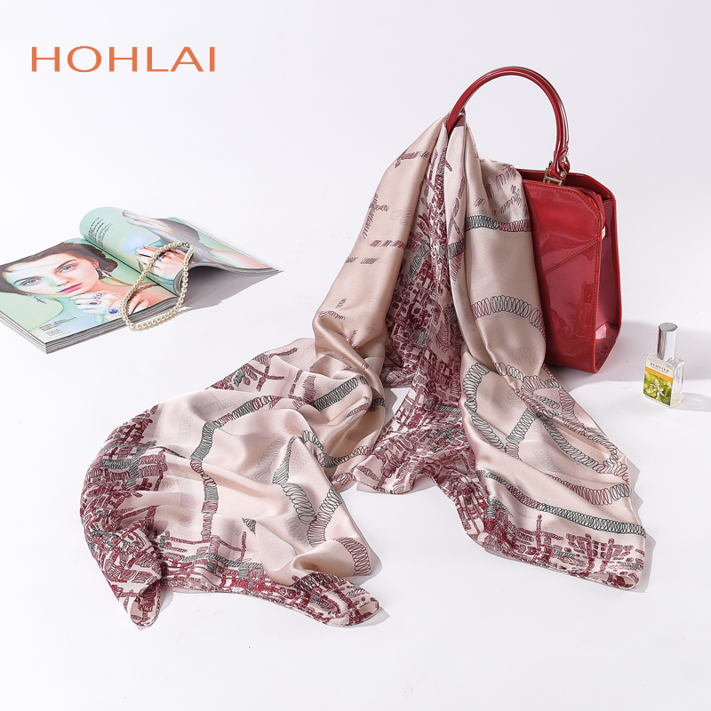 New luxury brand Women Silk scarf Beach Shawl and Echarpe Luxurious Wrap Designer scarves Plus Size female beach stole bandana ...