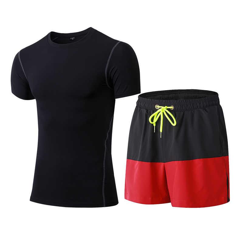 Yuerlian XXL Kompresi Kebugaran Tights Set Cepat Kering Olahraga Kostum Gym Kaos Celana Pendek Pakaian Latihan Yg Hangat untuk Pria Sport Suit Berjalan