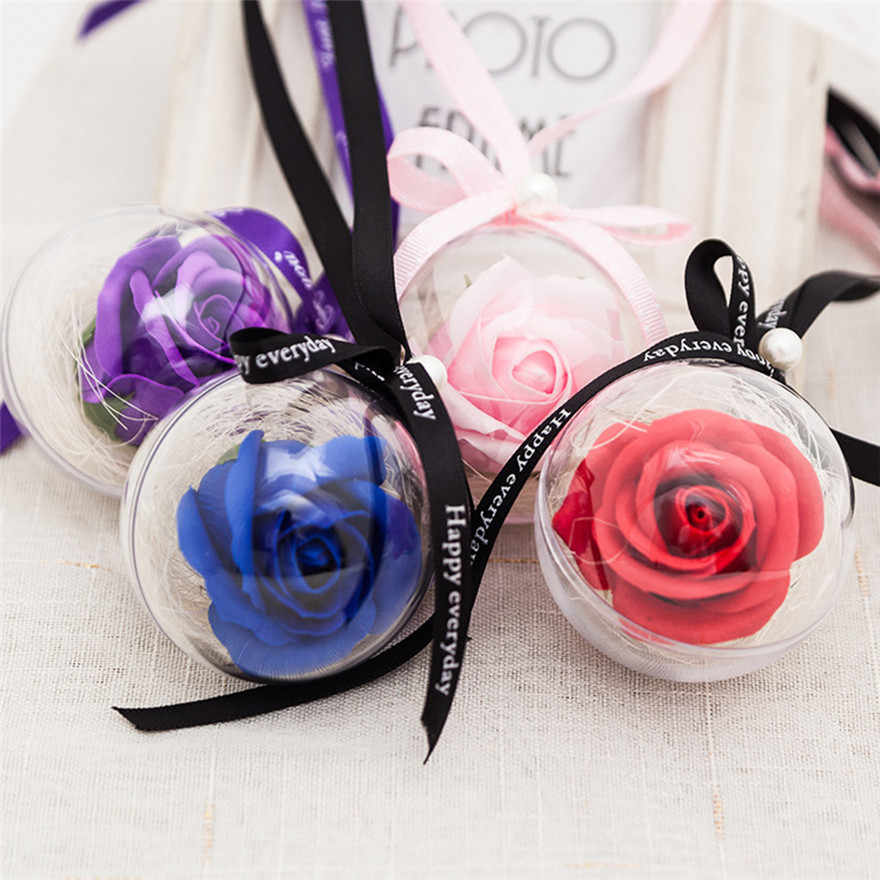 Romantic Rose Plastic Ball Pendant Soap flower decoration Valentine's Day Gift home party decor #0103 A1#