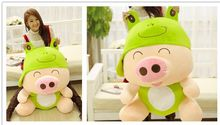 creative pig plush toy huge 95cm McDull pig turn to frog design hugging pillow Christmas gift w0995