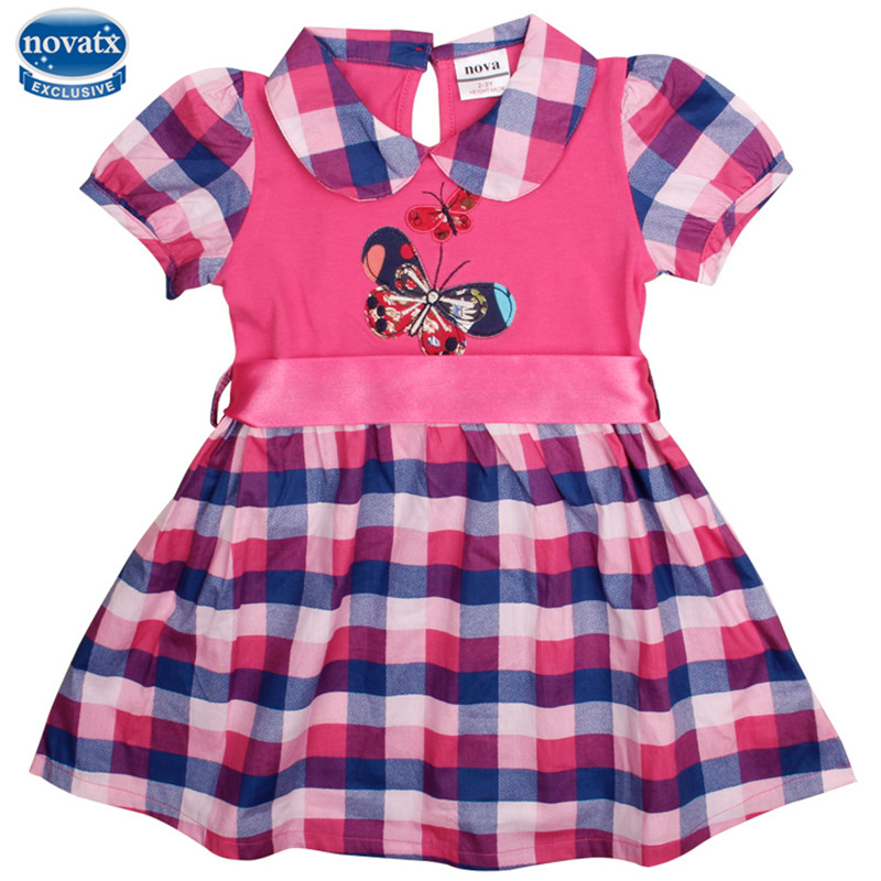 Novatx H4810 kids wear new style butterfly pattern embroidered with red bow belt plaid hemline short sleeves baby girls dress l novatx h7110 2017 kids wear new design style floral embroideried flower plaid hemline short sleeves baby girls dress hot selling