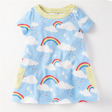 Jumping meters Baby girl dresses Rainbow printed european and american style summer hot selling children clothes toddler dresses