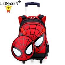 Подняться по лестнице багаж детская школьная сумка Студенты чемодан на колесиках для детей «Человек-паук», рюкзак с мультипликационным принтом для мальчика, сумки на плечо