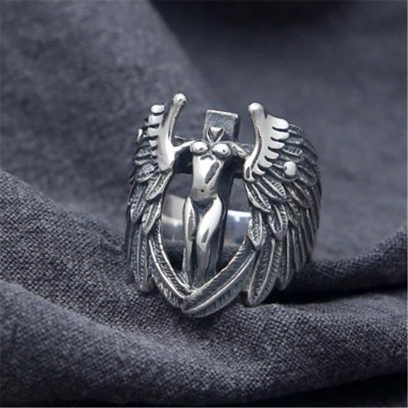 Gothique Punk Style hommes anneaux 925 solide en argent Sterling Angle aile croix large bande anneau Cool argent 925 hommes Designer bijoux cadeau
