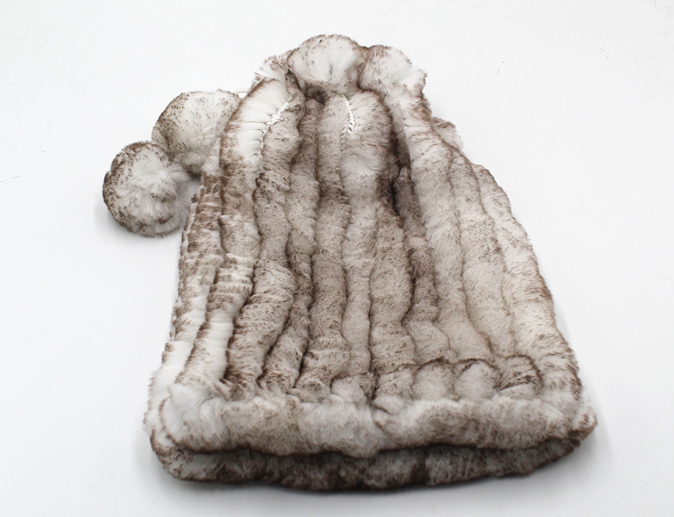 Womens Winter Hats Scarf Knitted Real Rabbit Fur Hat Natural fur Neck Scarf Girls Winter Warm Hat Beanies (23)