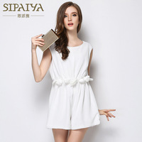 SIPAIYA 2017 Summer Elegant Flounced Waist Sleeveless White Jumpsuit Korean Fashion High Waist Wide Leg Playsuits