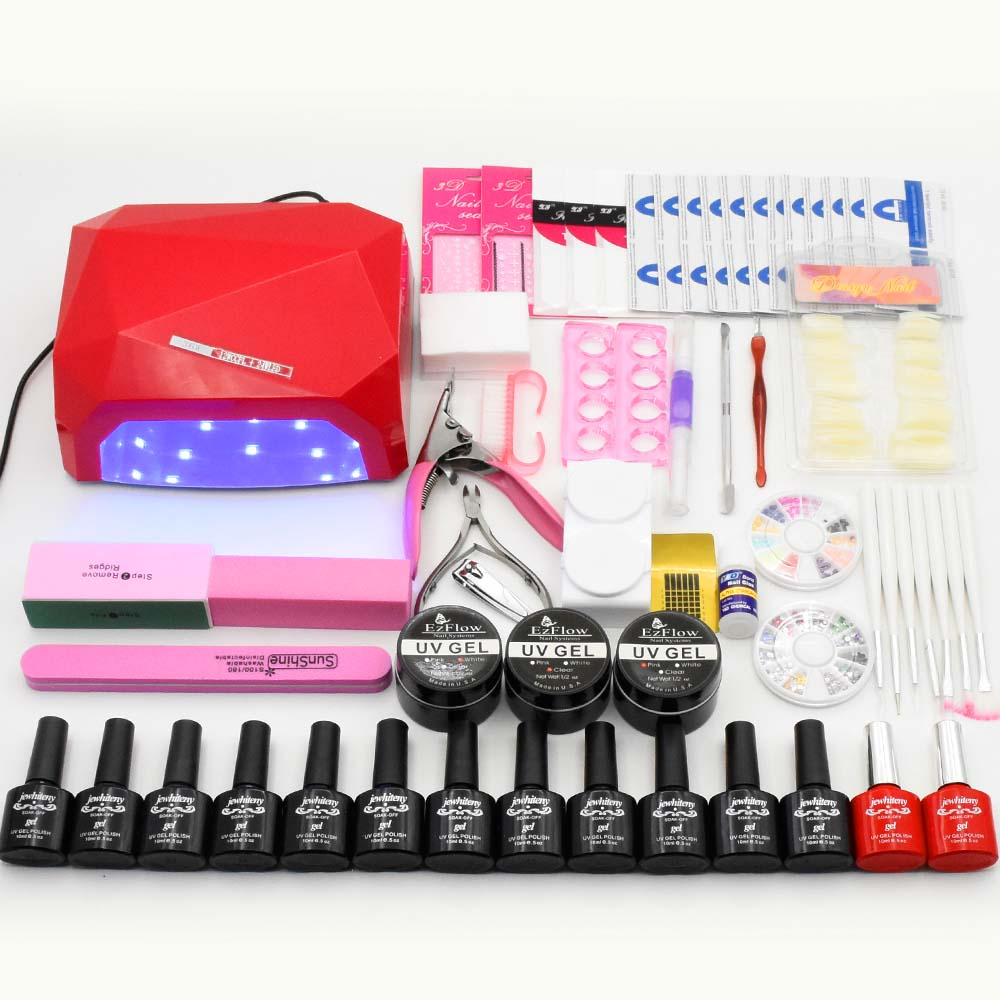 Nail Art tools manicure sets 36W UV LED LAMP nail dryer soak off gel soak off nail polish base top coat uv build gel nail kits nail art manicure tools 36w uv lamp 3color soak off nail gel base