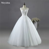 9076 Ball Gown Real Images Vestido De Novia Tulle Wedding Dress 2016 With Pearls Bridal Dresses