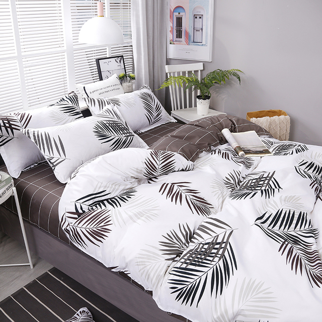 4pcs/set Leaves Printing High Quality Family Bedding Set Bed Linings Duvet Cover Bed Sheet Pillowcases Cover Set