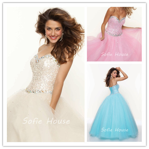 Hot sale sweetheart lace up crystal sequined turquoise pink ...