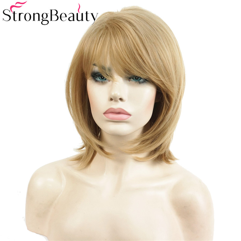 StrongBeauty Short Natural Straight Golden Blonde Wig - Syntetiskt hår - Foto 3