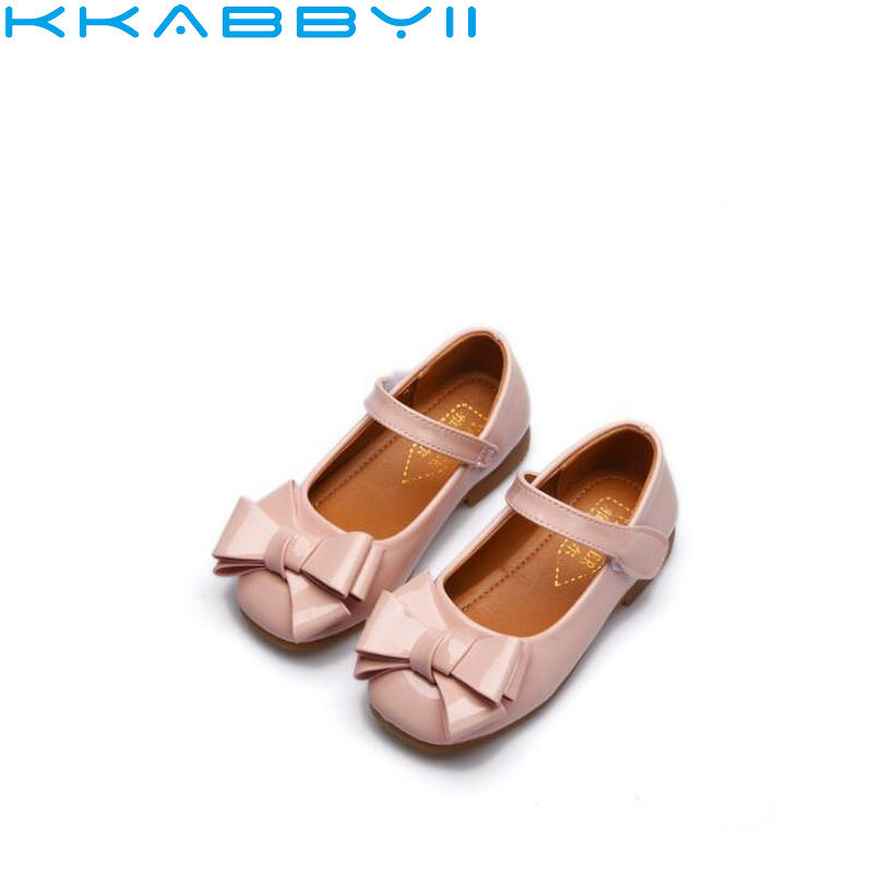 Children Sneaker Hot Autumn Big Girls Shoes Fashion Princess Slip-on Bow Leather Shoes For Girls Shoe Size 26-36