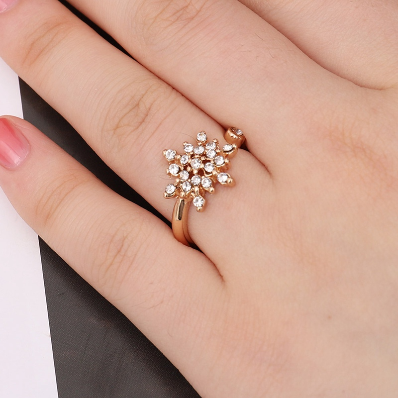 Silver Snowflake Ring With White Cz Crystal Romantic Snow Flower Floral Finger Rings Fine Jewelry Encircle Open Anel Lustrous