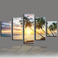 5 Panel Oil Painting Modern Spray Painting Sea Cuadros Picture Seascape Beach Tree Canvas Art For
