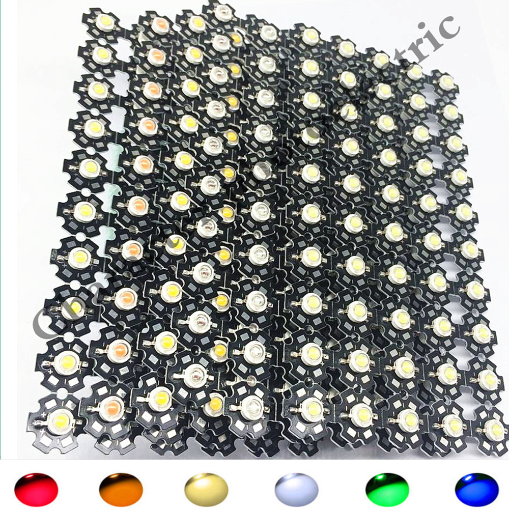 100pcs 3W watts High Power SMD LED Chip Light Beads White Red Blue Green IR UV With PCB