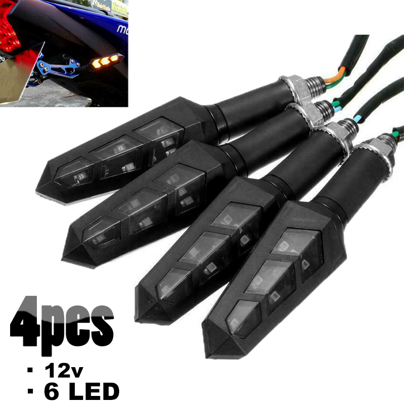 4pcs 6 LED Motorcycle Turn Signal Light Flashing Motorbike Indicator Blinker Moto Waterproof Tail Lights Signal Lamp 12V