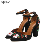 Chaussure Femme Talon Womens Heels Vintage Style Embroider Flower Shoes Woman Wedding Shoes Ladies Party Dress