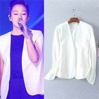high qualiyt Solid white No button jacket 2017 women's mantle split sleeve coat brand fashion clothing hip hop style s m l xl