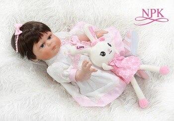 NPK 48CM reborn baby girl cuerpo completo silicona bebe muñeca reborn Bath toy muñecas 100% pintura detallada a mano