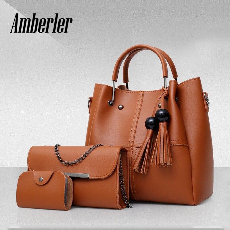 Amberler PU Leather Bags Handbags Women Famous Brands Shoulder Bag Female Casual 3 Pieces Set Tote Tassel Women Messenger Bags стоимость