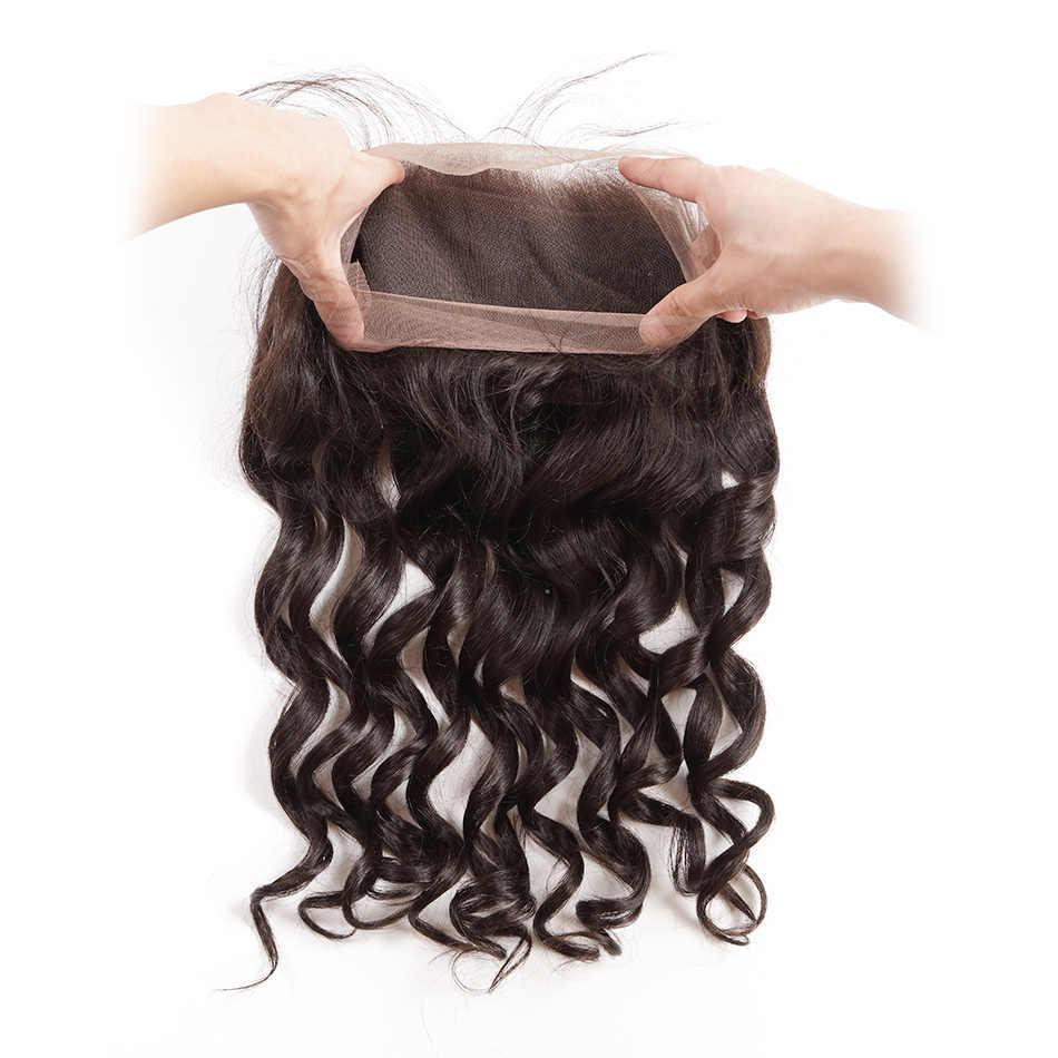 Pelo brasileño ILARIA cabello humano 360 encaje Frontal con paquetes onda suelta grado 7A Remy cabello virgen 3 paquetes con cierre superior