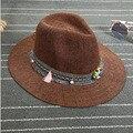 NUEVA Nudo Cinta de la Perla de Otoño e Invierno de La Moda Británica de La Vendimia Gorro de lana Jazz Band Envío Libre Sombrero de Fieltro