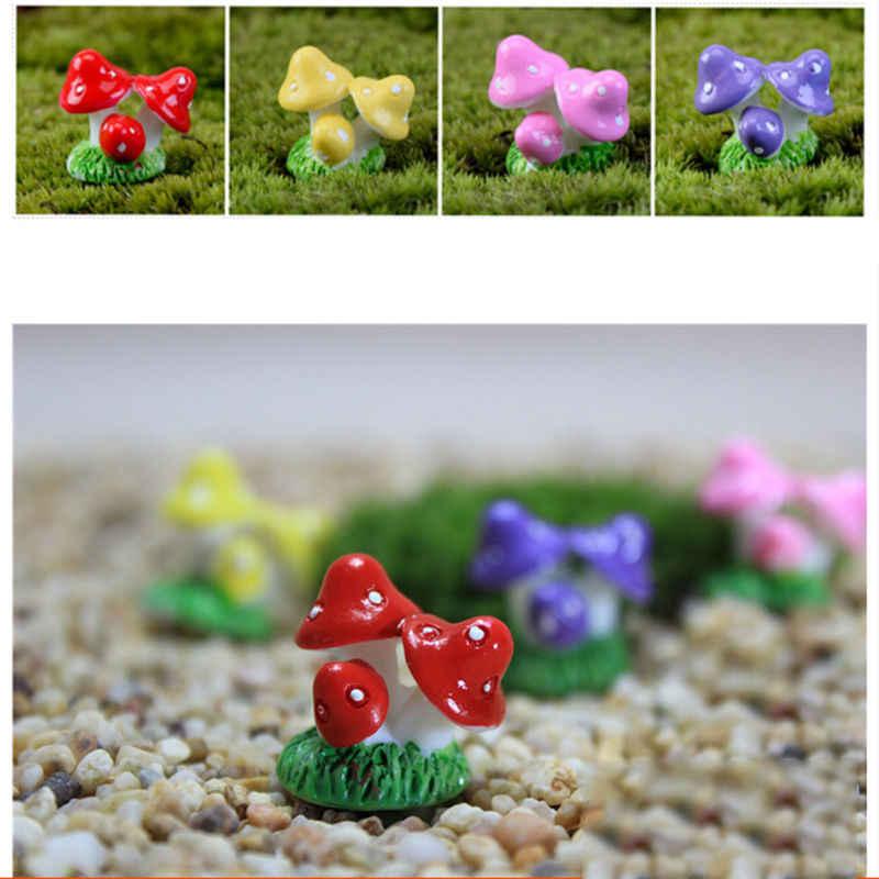 Bonsái para micropaisaje, jardinería de plantas, accesorios de jardín, estacas de decoración, manualidades de resina en 4 colores, Mini Seta en miniatura