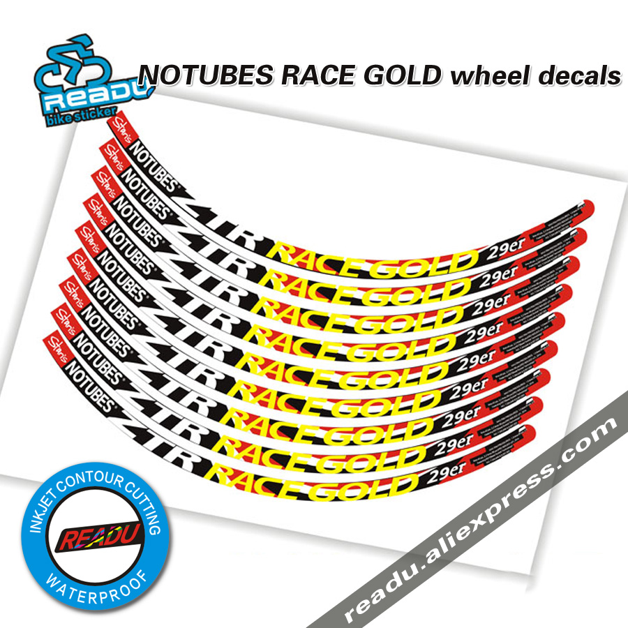 2016 NOTUBE SRACE GOLD bike wheels stickers MTB wheel rims stickers decals suitable for 29 inch use NOTUBE bicycle stickers
