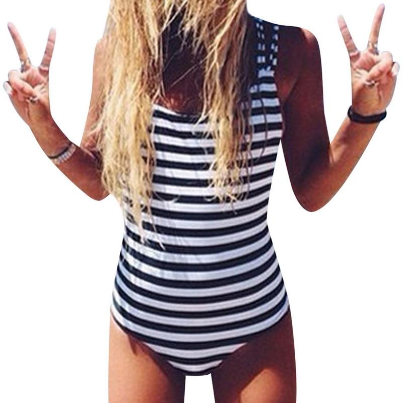 Sexy One-Piece Swimsuit Women Summer Swimwear Beach Suit Monokini Push up Padded Backless Striped Swimwear Bathing Suit 3