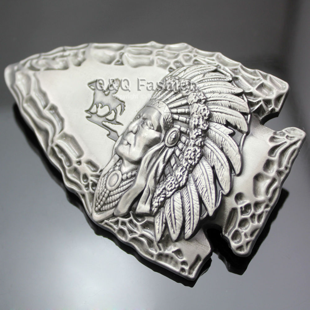 Apparel Accessories Systematic Vintage Silver Belt Cinto Buckle Men Jewelry Tribal 3d Indian Chief Arrow Head Rodeo Zuni Navajo Leather Tactical Designer Fashionable And Attractive Packages