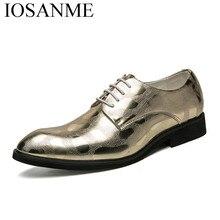 men gold dress shoes leather luxury brand italian formal working elegant male