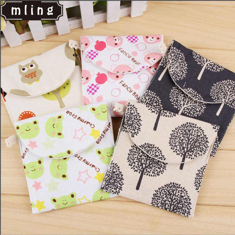 1PC Girls Diaper Sanitary Napkin Storage Bag Canvas Sanitary Pads Package Bags Coin Purse Organizer Credit Card Pouch Case