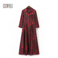 Women Vintage Floral Plaid Long Dress Pleated One Piece Dress Long Sleeve Turn Down Collar Retro