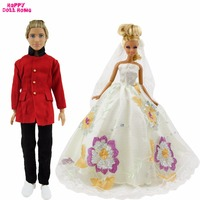 High Quality Handmade Wedding Lace Flower Pattern Dress With Veil For Barbie Doll Formal Suit For