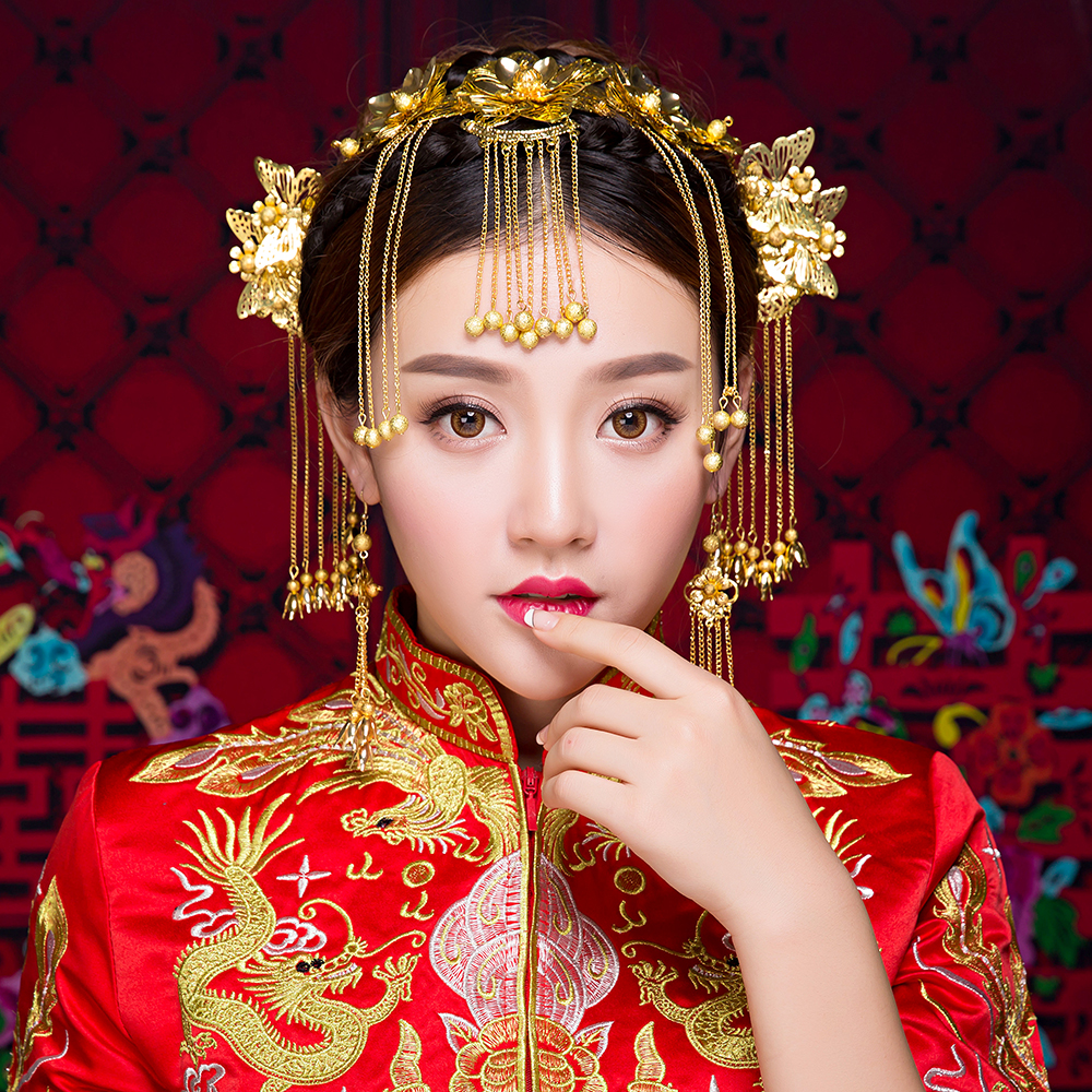 Vintage Chinese Wedding Hair Jewelry Brides Adorn Hair Accessories Queen Hairpins Gold Color ...