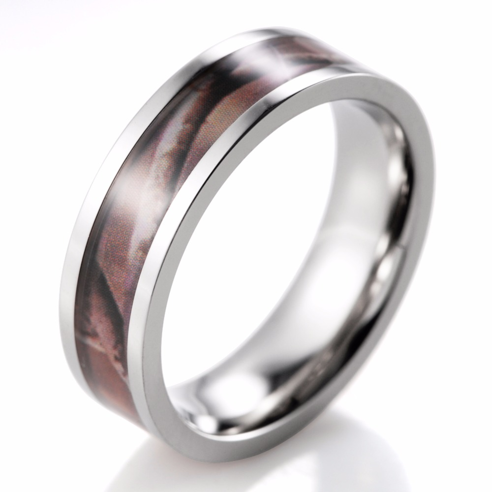 Titanium Brown Real Tree Branch Camo Ring Men's Ring Camouflage Engagement  Wedding Band(china (